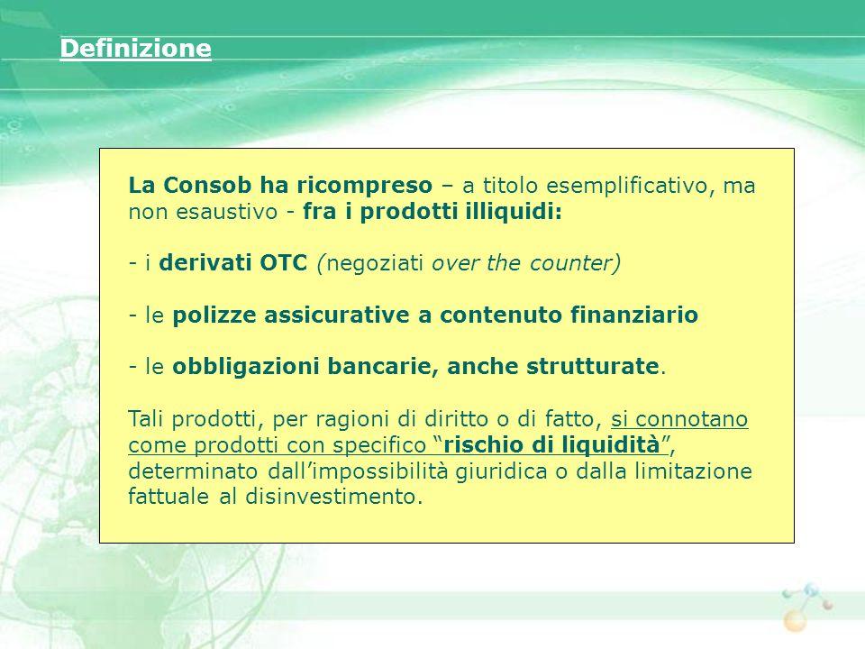 Definizione La Consob ha ricompreso – a titolo esemplificativo, ma non esaustivo - fra i prodotti illiquidi: