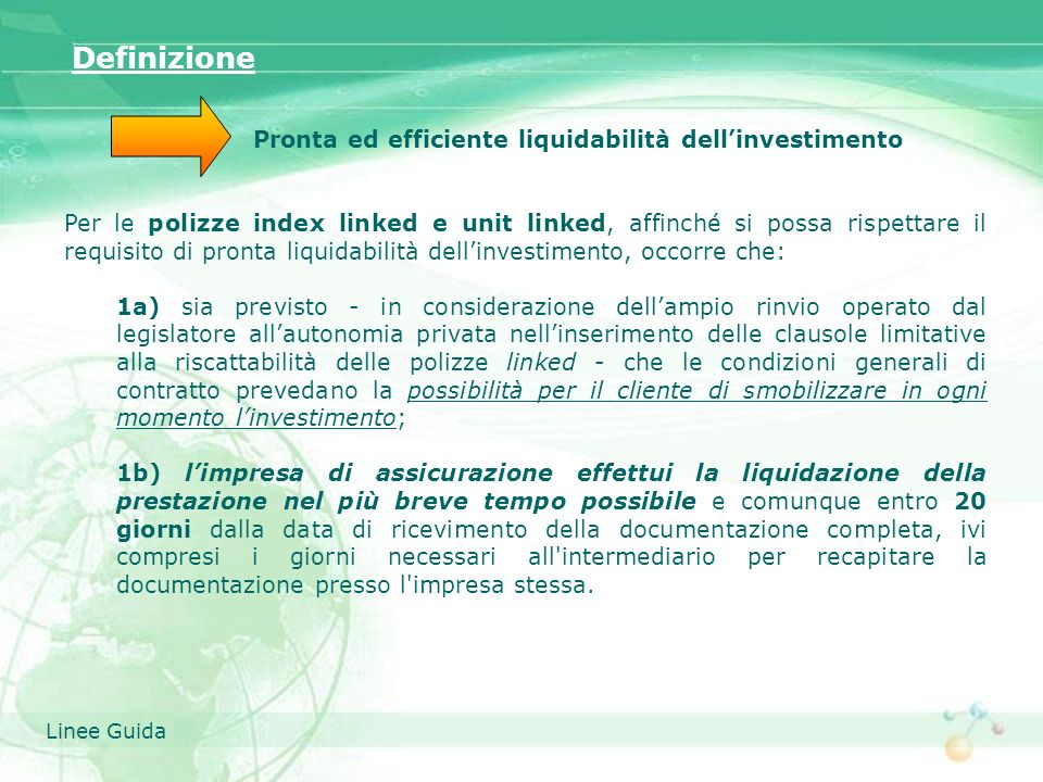 Pronta ed efficiente liquidabilità dell'investimento