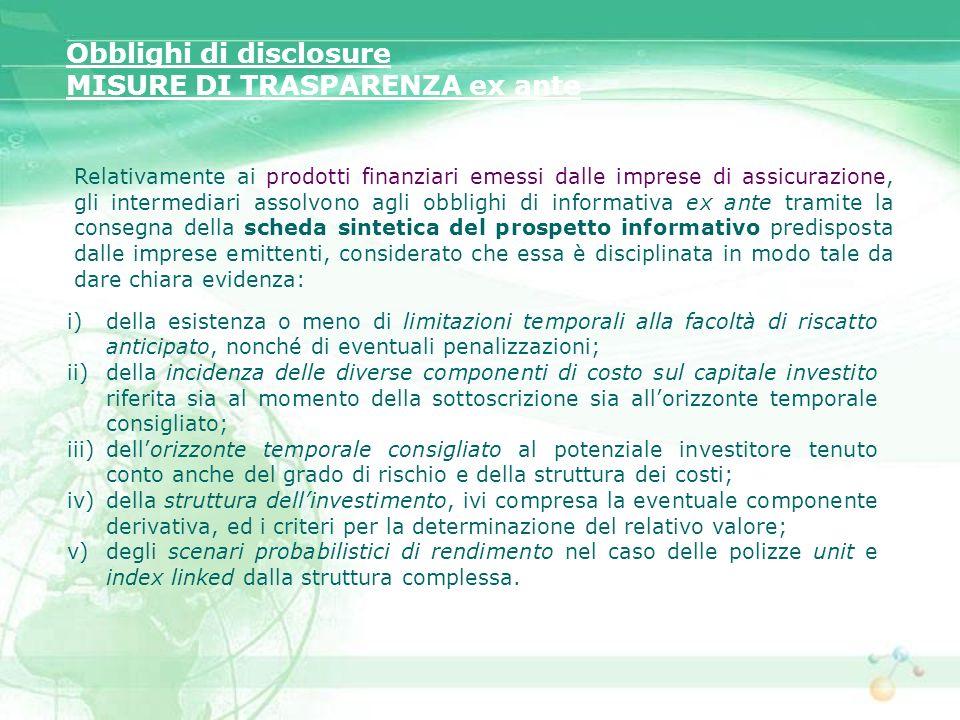 Obblighi di disclosure MISURE DI TRASPARENZA ex ante