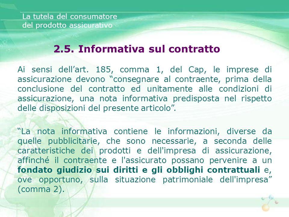 2.5. Informativa sul contratto