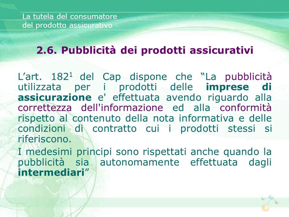 2.6. Pubblicità dei prodotti assicurativi