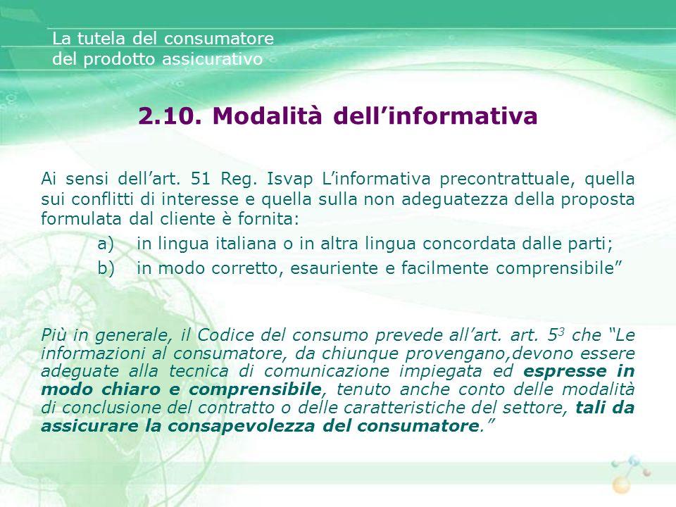 2.10. Modalità dell'informativa