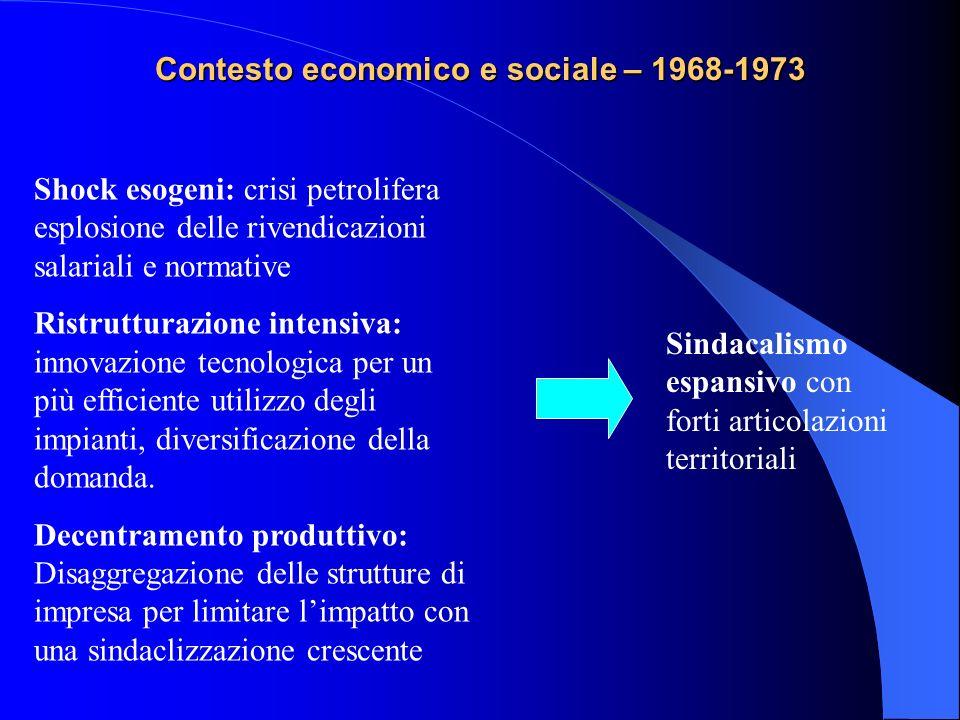 Contesto economico e sociale – 1968-1973