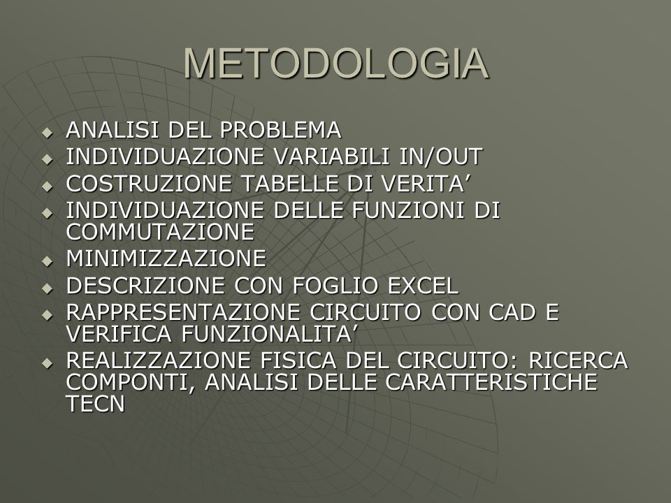 METODOLOGIA ANALISI DEL PROBLEMA INDIVIDUAZIONE VARIABILI IN/OUT