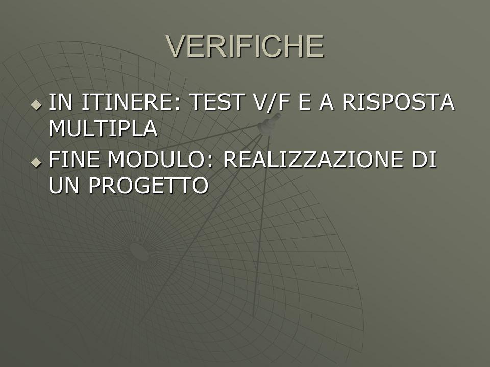 VERIFICHE IN ITINERE: TEST V/F E A RISPOSTA MULTIPLA