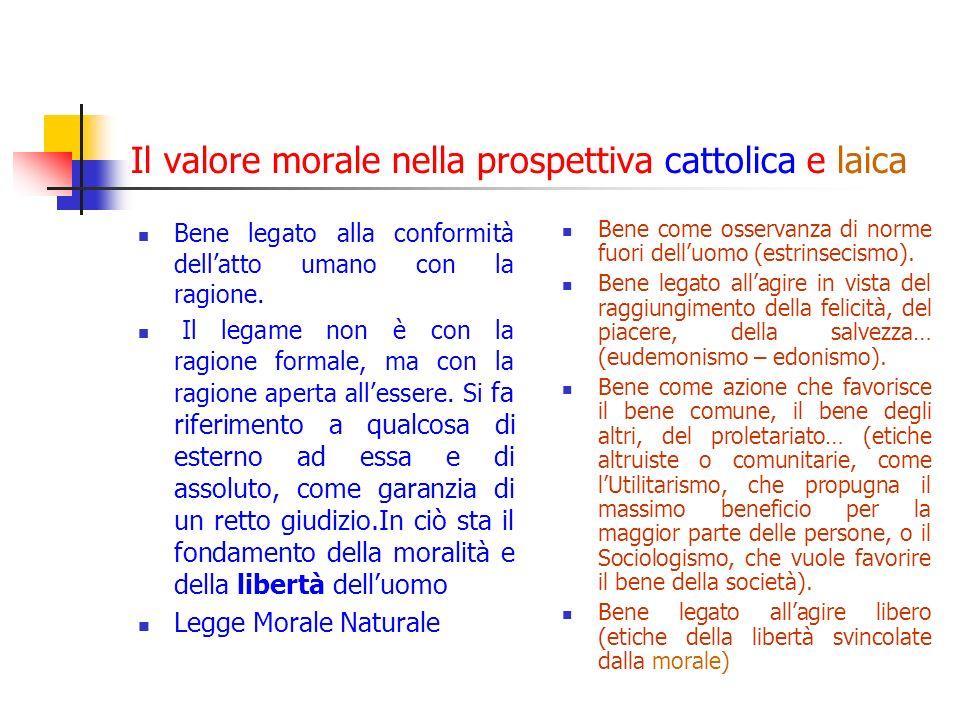 Il valore morale nella prospettiva cattolica e laica