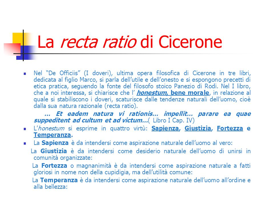La recta ratio di Cicerone