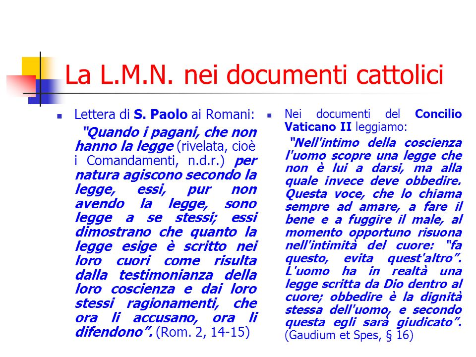 La L.M.N. nei documenti cattolici
