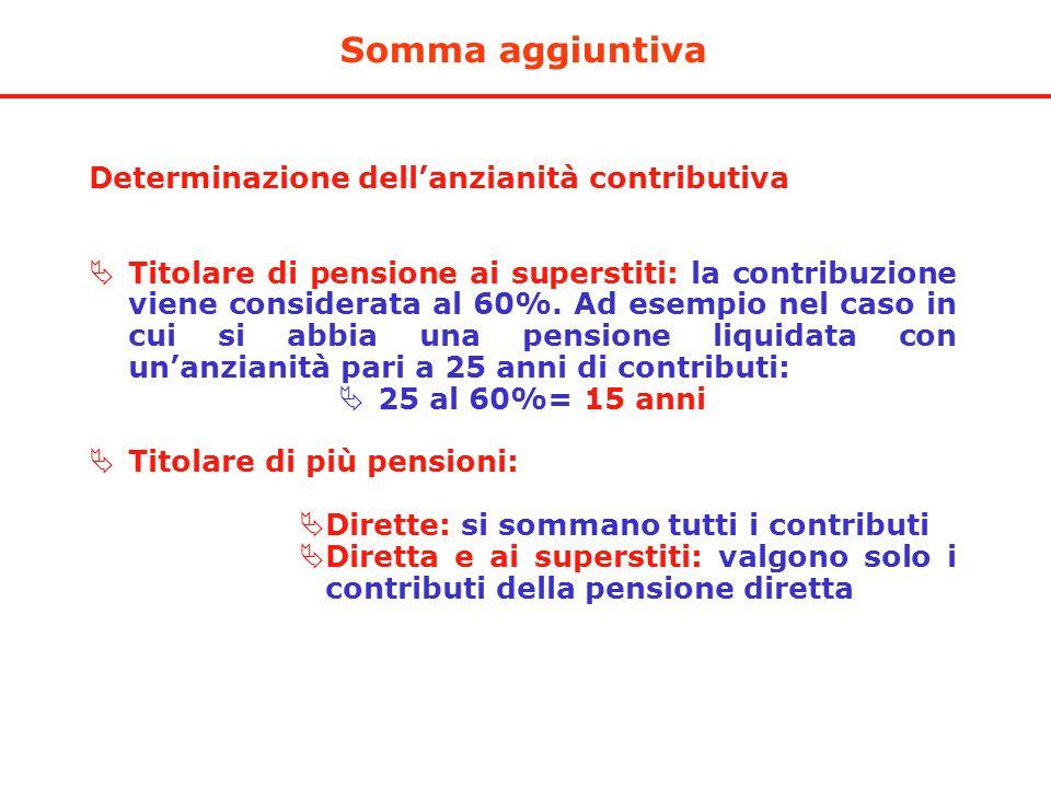 Somma aggiuntiva Determinazione dell'anzianità contributiva