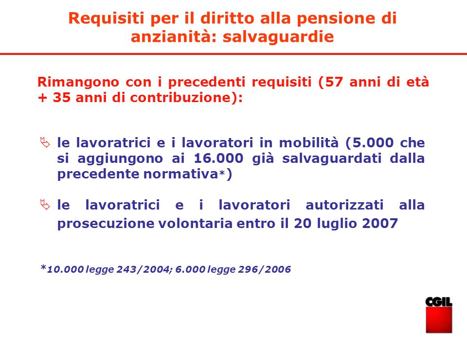 Requisiti per il diritto alla pensione di anzianità: salvaguardie