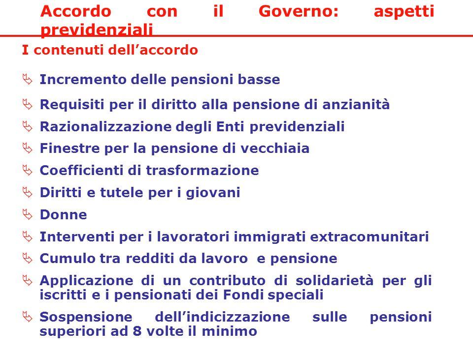 Accordo con il Governo: aspetti previdenziali