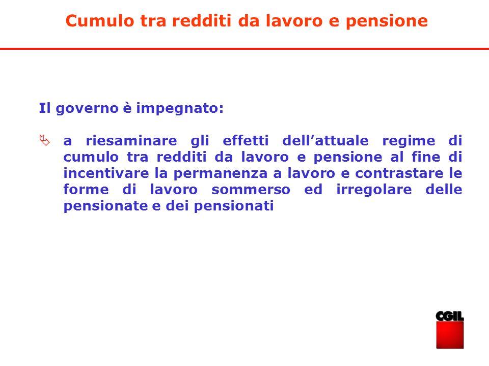 Cumulo tra redditi da lavoro e pensione