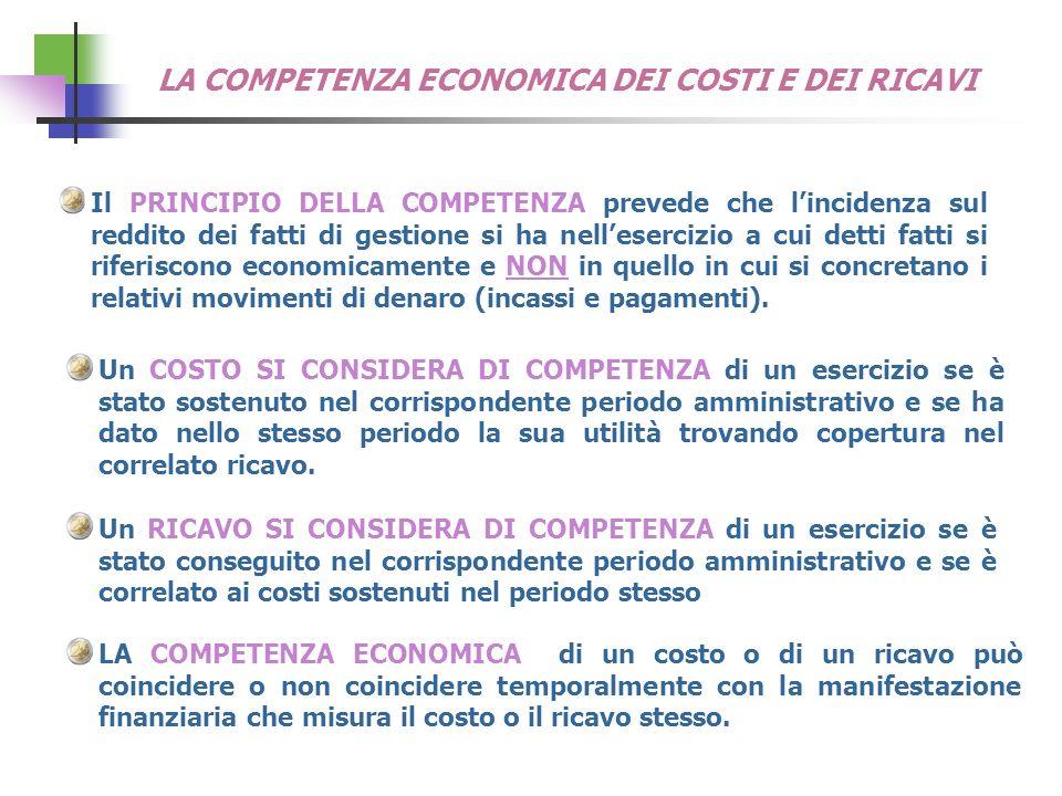 LA COMPETENZA ECONOMICA DEI COSTI E DEI RICAVI