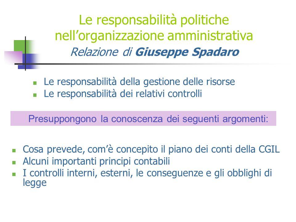 * 16/07/96. Le responsabilità politiche nell'organizzazione amministrativa Relazione di Giuseppe Spadaro.
