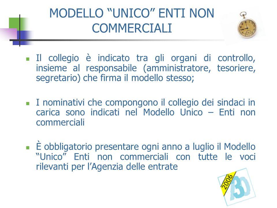 MODELLO UNICO ENTI NON COMMERCIALI