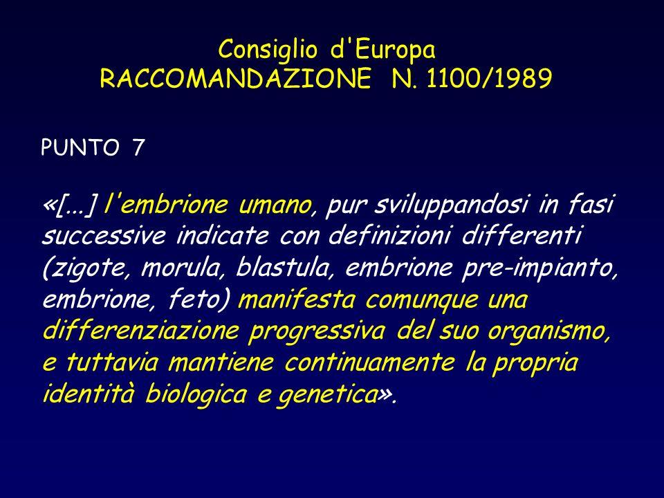 Consiglio d Europa RACCOMANDAZIONE N. 1100/1989