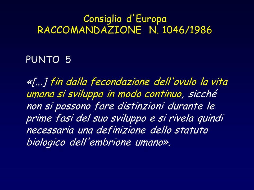 Consiglio d Europa RACCOMANDAZIONE N. 1046/1986
