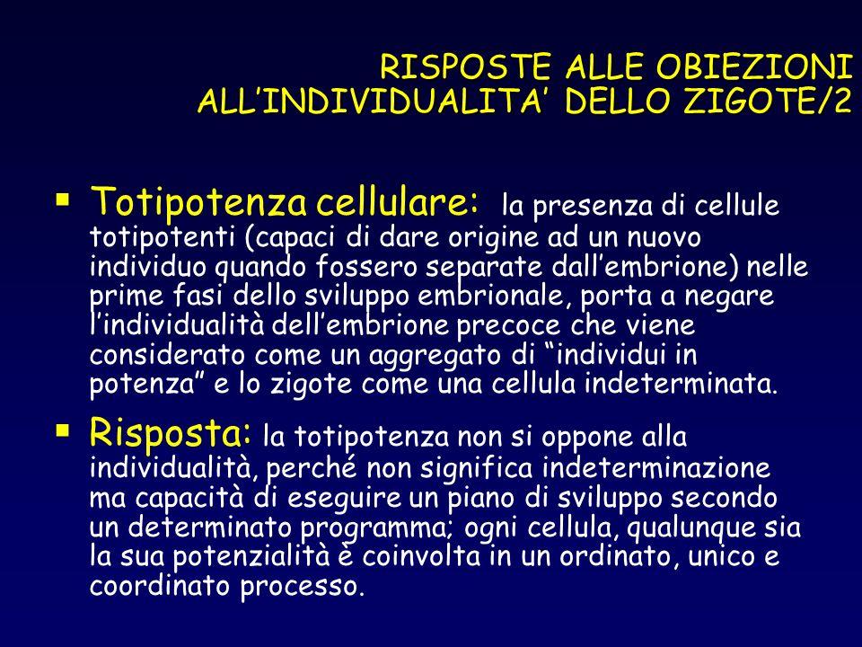 RISPOSTE ALLE OBIEZIONI ALL'INDIVIDUALITA' DELLO ZIGOTE/2