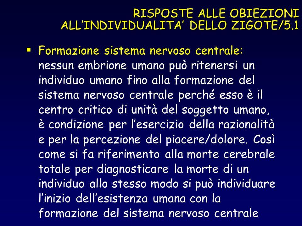 RISPOSTE ALLE OBIEZIONI ALL'INDIVIDUALITA' DELLO ZIGOTE/5.1