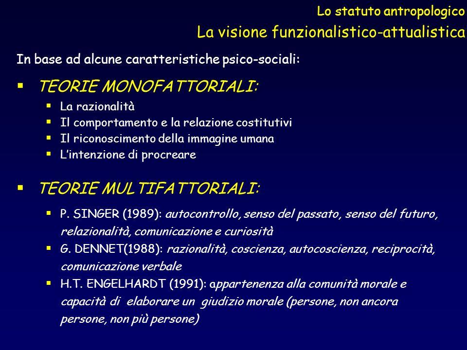 Lo statuto antropologico La visione funzionalistico-attualistica