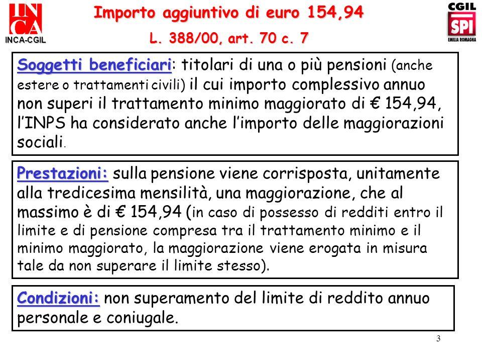 Importo aggiuntivo di euro 154,94