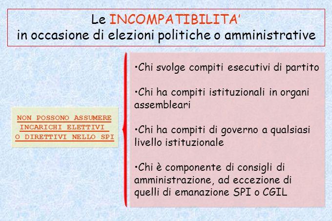 Le INCOMPATIBILITA' in occasione di elezioni politiche o amministrative