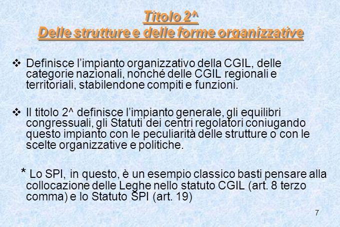 Titolo 2^ Delle strutture e delle forme organizzative