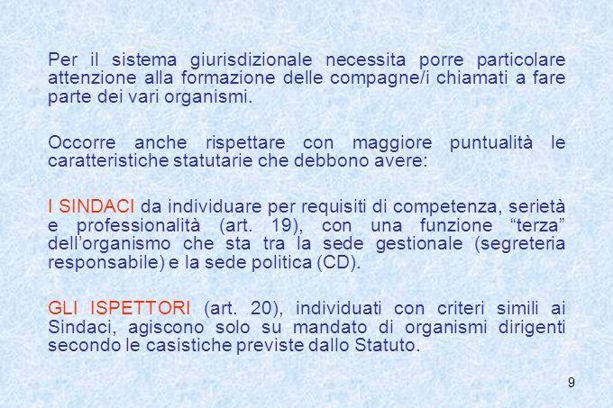 Per il sistema giurisdizionale necessita porre particolare attenzione alla formazione delle compagne/i chiamati a fare parte dei vari organismi.