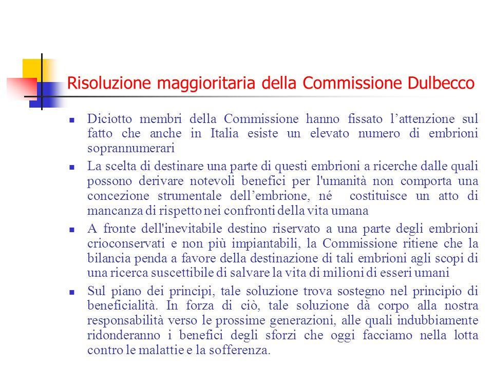 Risoluzione maggioritaria della Commissione Dulbecco