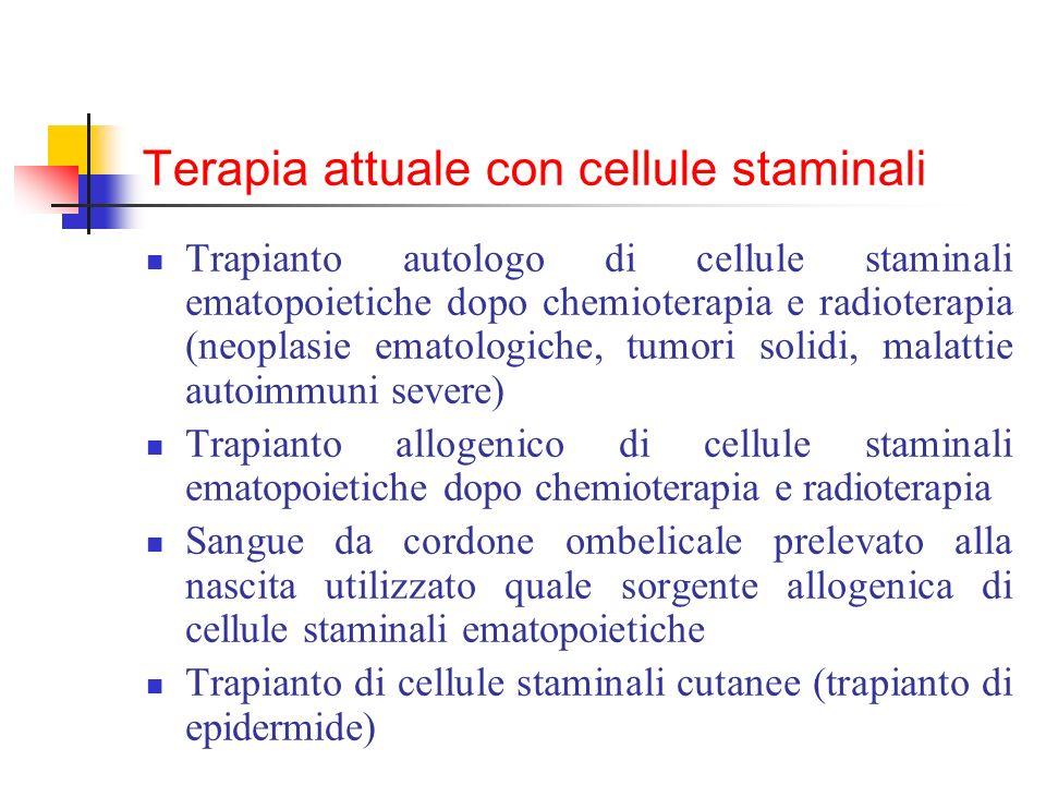 Terapia attuale con cellule staminali