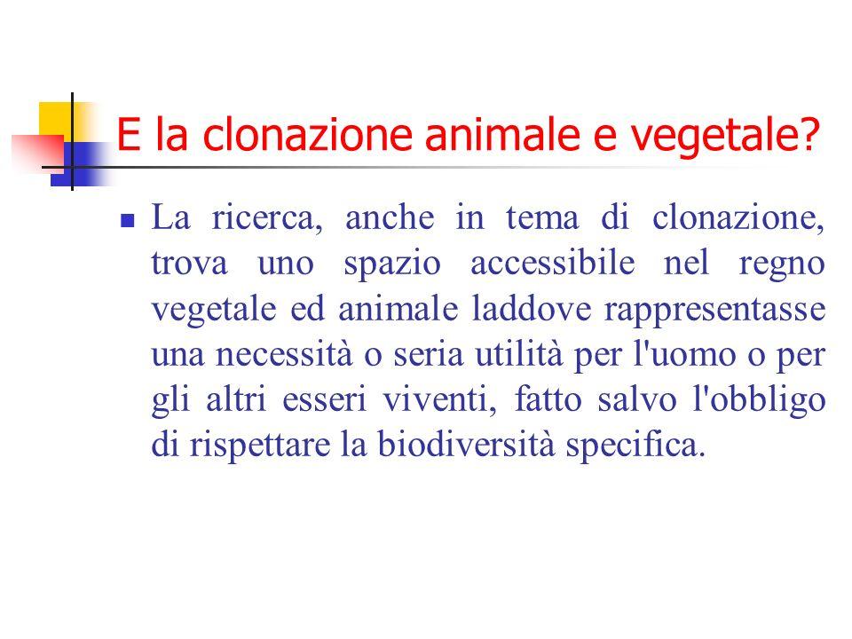E la clonazione animale e vegetale