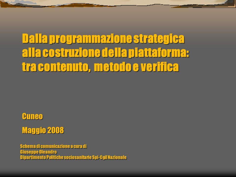 Dalla programmazione strategica alla costruzione della piattaforma: tra contenuto, metodo e verifica