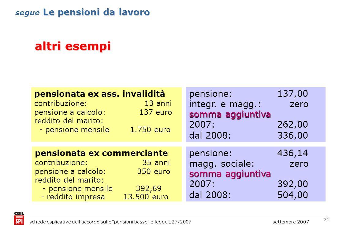 altri esempi pensione: 137,00 integr. e magg.: zero somma aggiuntiva