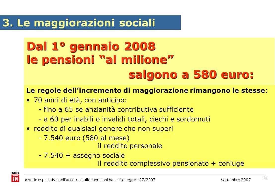 le pensioni al milione salgono a 580 euro: