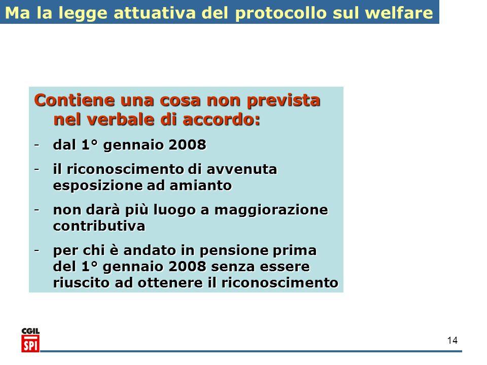Ma la legge attuativa del protocollo sul welfare
