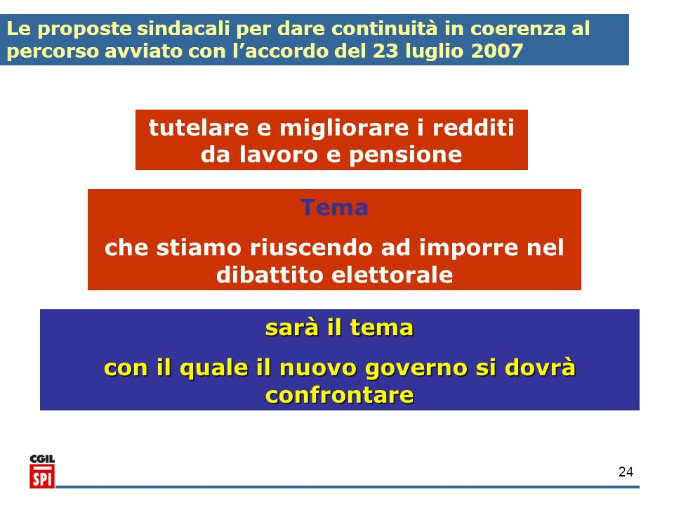 tutelare e migliorare i redditi da lavoro e pensione