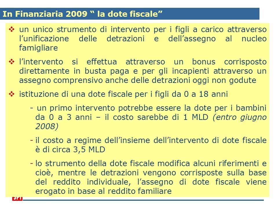 In Finanziaria 2009 la dote fiscale