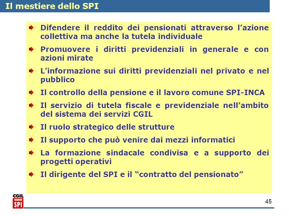 Il mestiere dello SPI Difendere il reddito dei pensionati attraverso l'azione collettiva ma anche la tutela individuale.