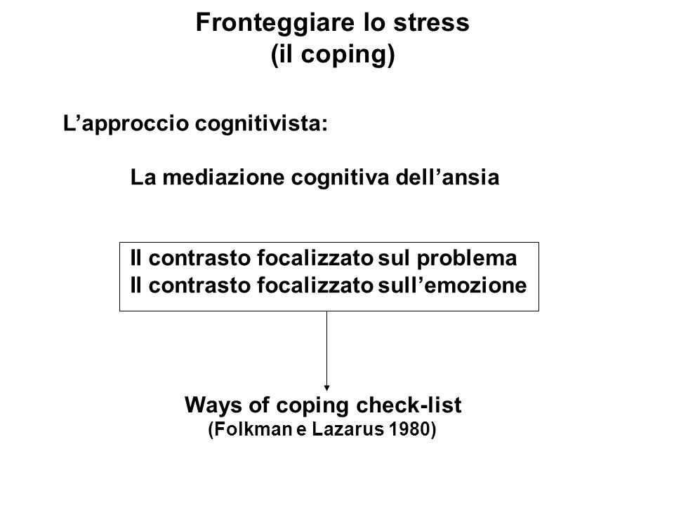 Fronteggiare lo stress Ways of coping check-list