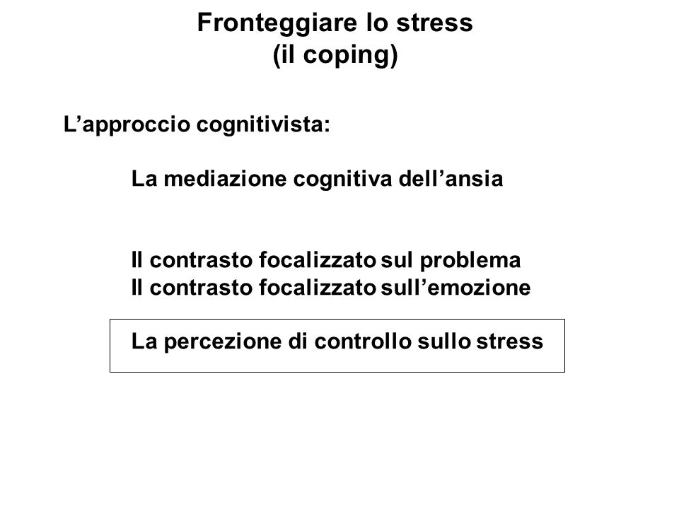 Fronteggiare lo stress