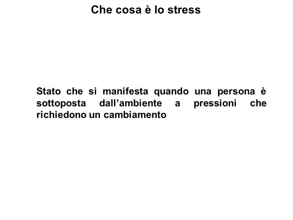 Che cosa è lo stressStato che si manifesta quando una persona è sottoposta dall'ambiente a pressioni che richiedono un cambiamento.