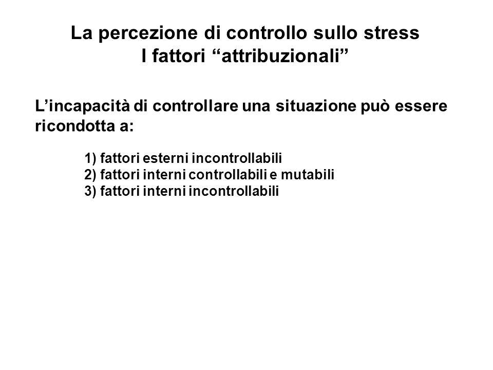 La percezione di controllo sullo stress I fattori attribuzionali
