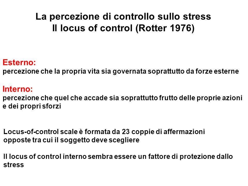 La percezione di controllo sullo stress
