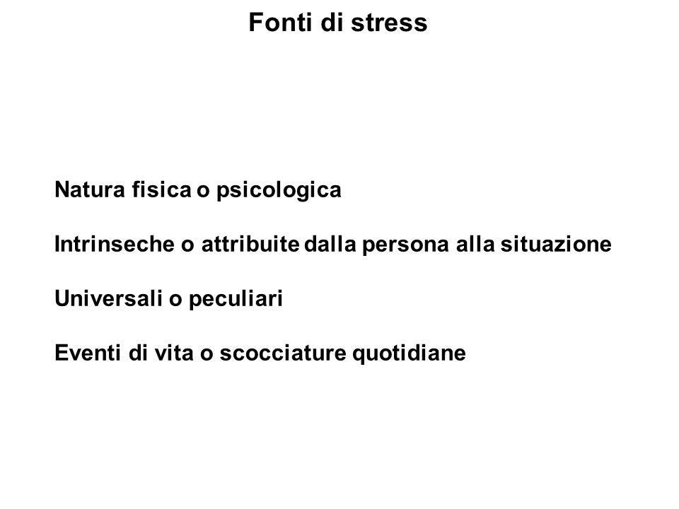 Fonti di stress Natura fisica o psicologica