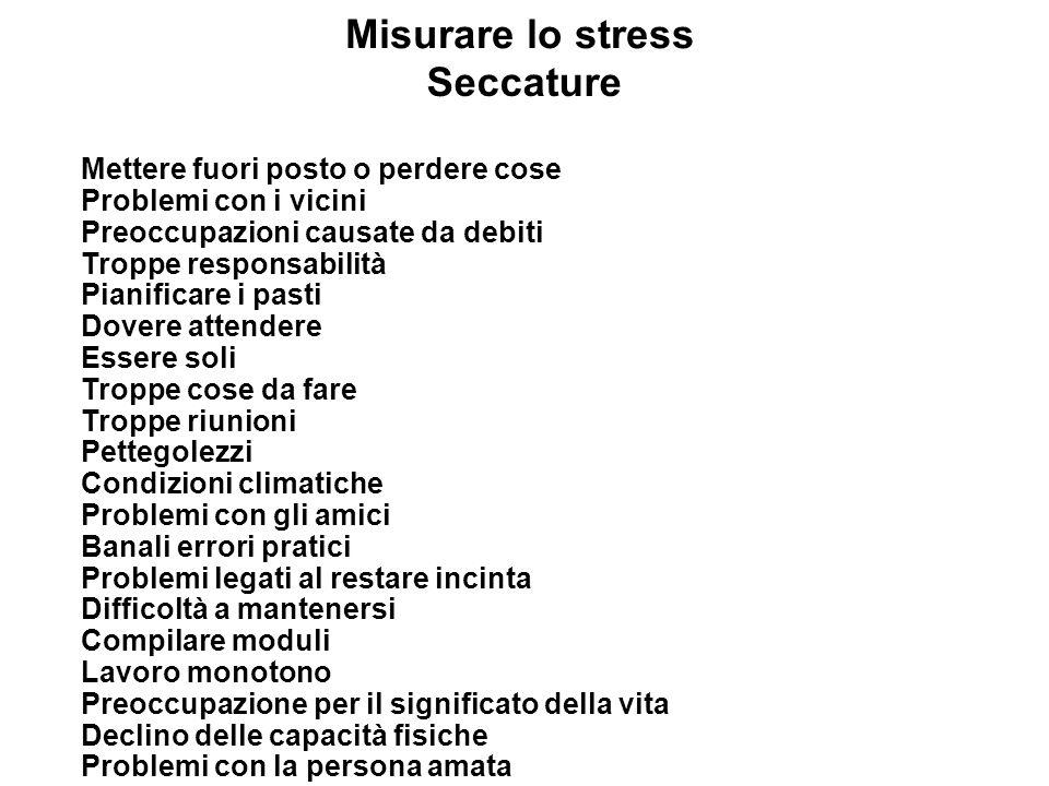 Misurare lo stress Seccature Mettere fuori posto o perdere cose