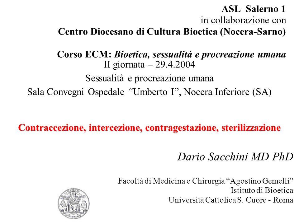 Contraccezione, intercezione, contragestazione, sterilizzazione