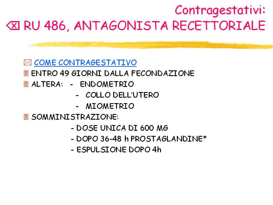 il blocco dei recettori del progesterone da parte dell'RU486 priva l'embrione annidato di tale protezione e lo espone al distacco dalla parete uterina. Il mifepristone, infatti, danneggiando i capillari endometriali provoca emorragie e sfaldamento dell'endometrio e, quindi, distacco del trofoblasto; la gonadotropina coriale (hCG), secreta dal trofoblasto e riversata nel sangue materno, decade rapidamente e cessa la sua azione di stimolo sul corpo luteo con conseguente caduta del livello ematico del progesterone: il circolo abortivo così si chiude. In più dallo sfaldamento dell'endometrio si liberano prostaglandine (soprattutto PgF2a ) che accentuano l'azione abortiva dilatando la cervice e stimolando le contrazioni uterine. In realtà alla somministrazione di RU486 (600 mg per os in dose unica) spesso si associa dopo 36–48 ore quella di prostaglandine per potenziarne l'effetto abortivo: questo si ha nel 60-85% dei casi adoperando solo l'RU486, nel 99% dei casi associando anche le prostaglandine. L uso delle prostaglandine è legato alla necessità di garantire l effetto abortivo, poichè la RU486, se fallisce, può causare malformazioni fetali; tuttavia questa associazione farmacologica potenzia l effetto emorragico della pillola, complicanza da non sottovalutare (ultimamente si è avuta la morte per emorragia imponente di una donna francese che aveva fatto uso della RU486).