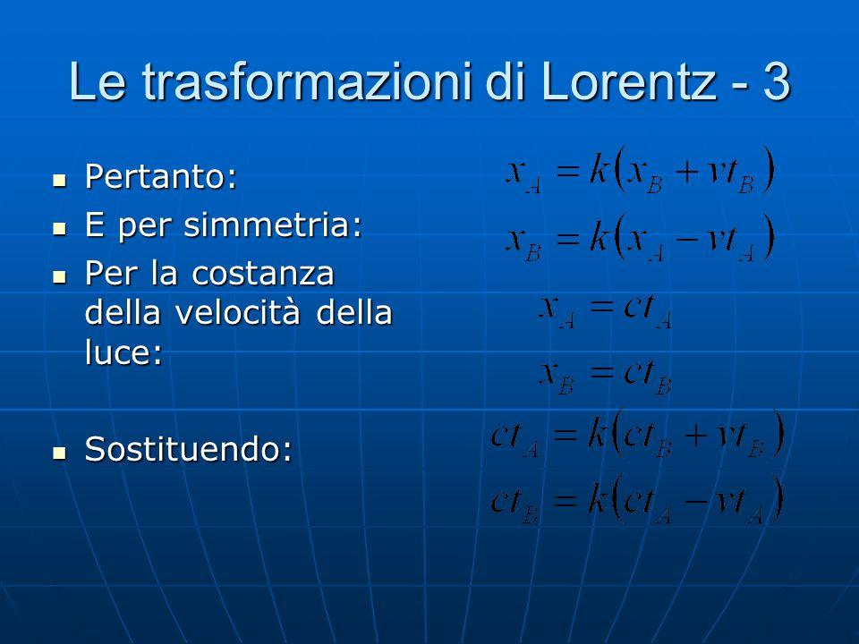 Le trasformazioni di Lorentz - 3