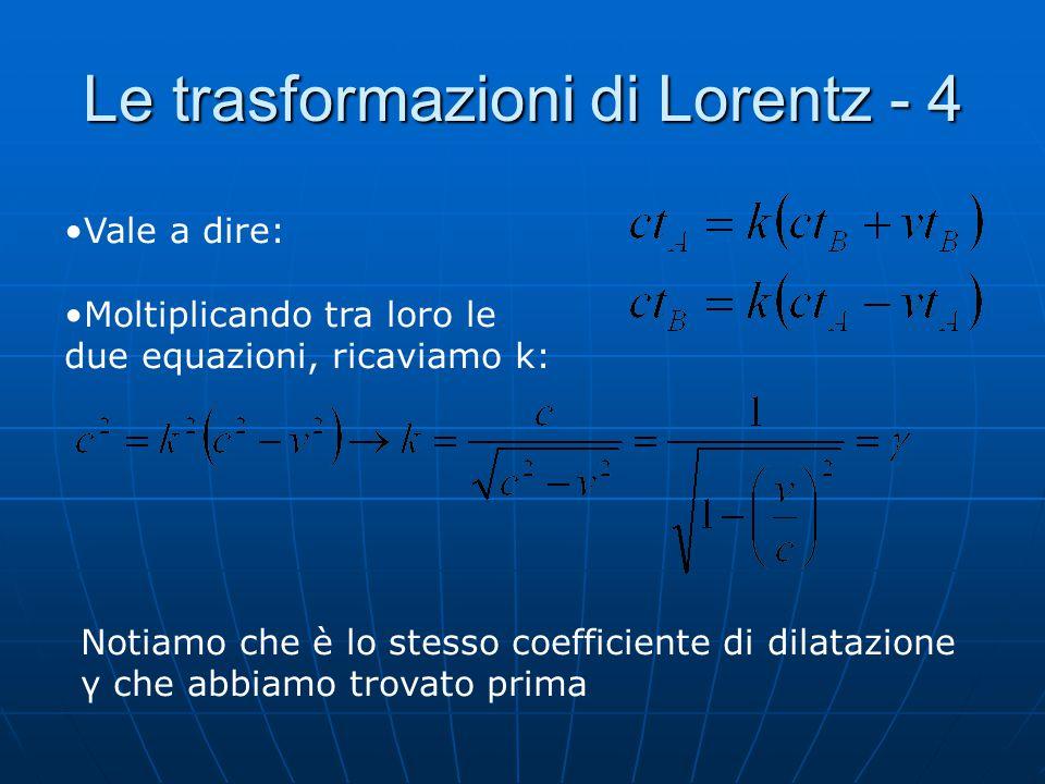 Le trasformazioni di Lorentz - 4