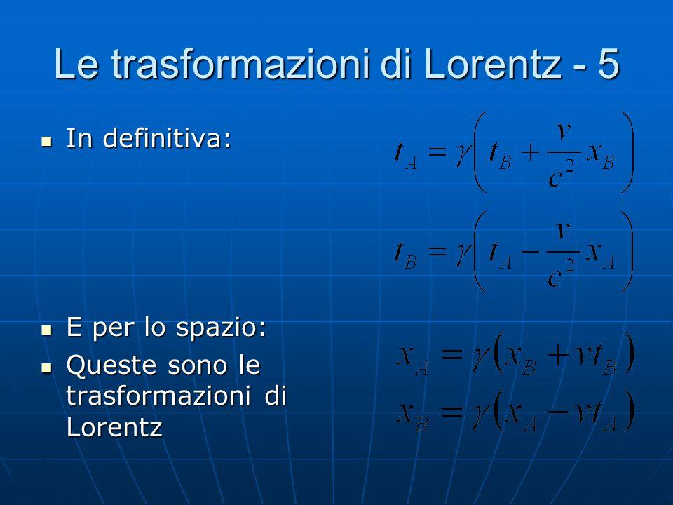 Le trasformazioni di Lorentz - 5